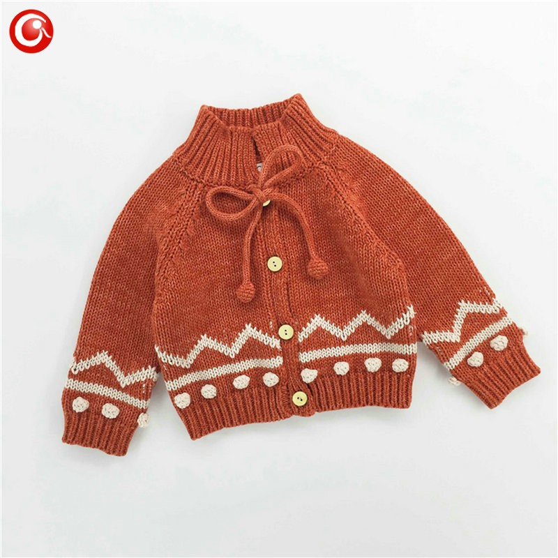 Children Girls Cardigan Orange Baby Boys Cotton Sweater Button Kids Warm Knitted Wear Clothes Crochet Coat Clothing 1-4Y (9)