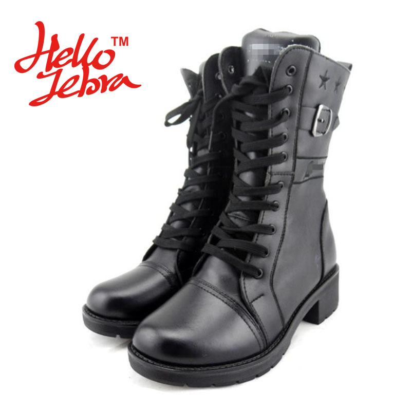 Women Fashion Boots Snow Winter Warm Solid Leather Wool with Zip Lace Up Flat Boots 2016 New Leisure Cool Autumn Ladies Design