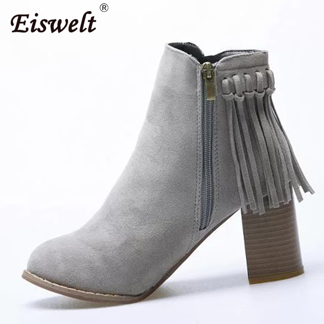 EISWELT Women Ankle Boots Tassels Round Toe Zip Women Boots Autumn And Winter Fashion Thick Heel Women Shoes Flock#ZQS187 fashion square toe zip genuine leather solid nude women ankle boots thick heel brand women shoes ladies autumn short boots