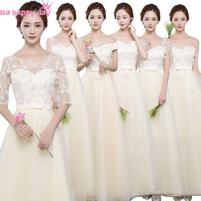 Lace Champagne Long V Neck Bride Maids Dress Modest Bridesmaid