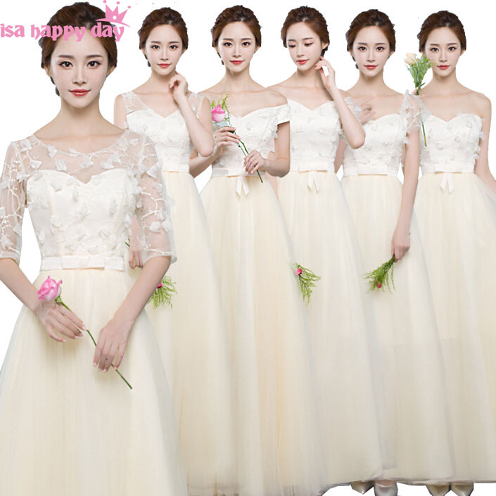 lace champagne long v neck bride maids   dress   modest   bridesmaid     dresses   ball gown with sleeves from china wedding guest B3793