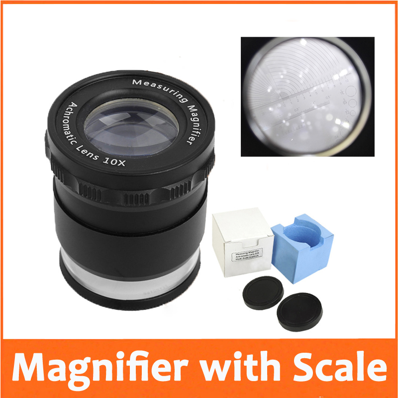 New 10X LED Illuminated Adjustable Cylindrical Measuring Magnifier Loupe Glass Achromatic Lens with Reading Scale Graticule 100x led illuminated focus adjustable zoom pocket microscope handheld magnifier loupe with reading scale 1div 0 02mm and lamp