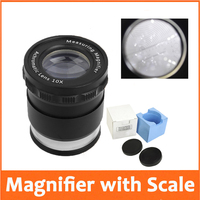 10X Metal LED Illuminated Focus Adjustable Cylindrical Loupe Measuring Magnifier Achromatic Lens With Cross Scale Graticule