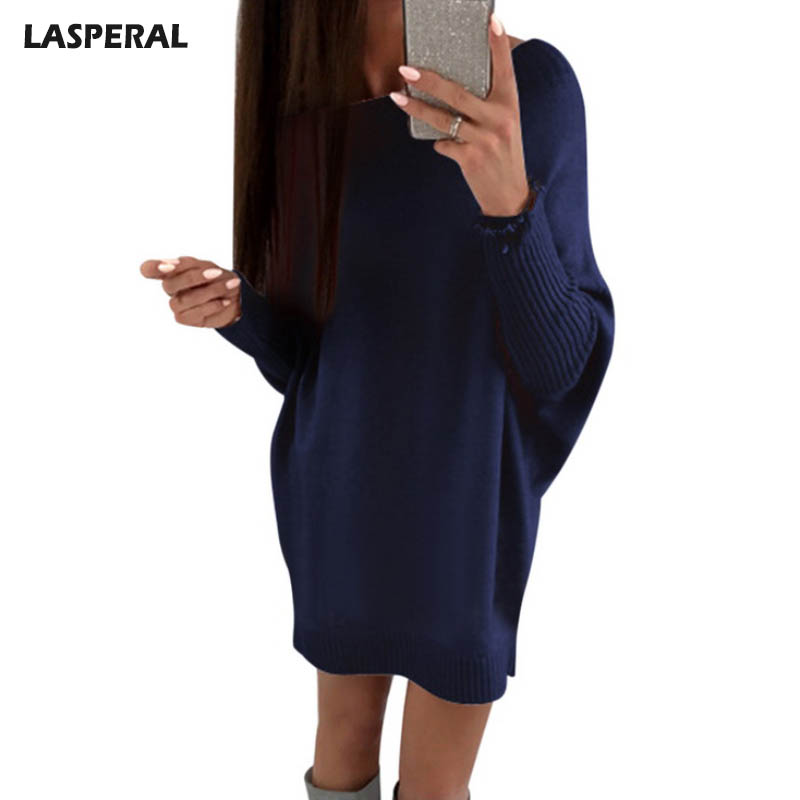 LASPERAL 2018 Spring Basic Sweater Dress Women Fashion Long Batwing Sleeve Knitted Dress Female Solid Vestidos