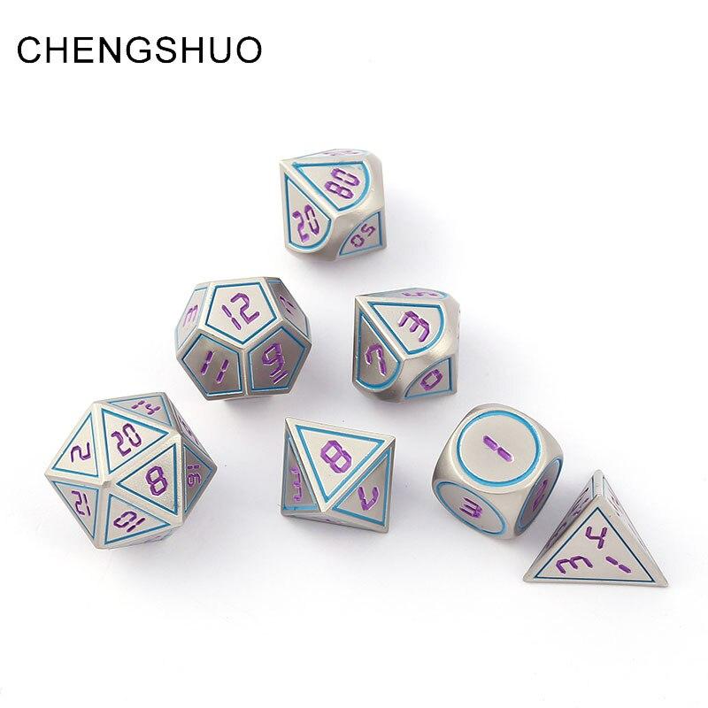 Chengshuo dnd dadi di metallo rpg set poliedrici dungeons and dragons d20 10 8 12 gioco da tavolo In lega di Zinco argenteo digitale dadi modello