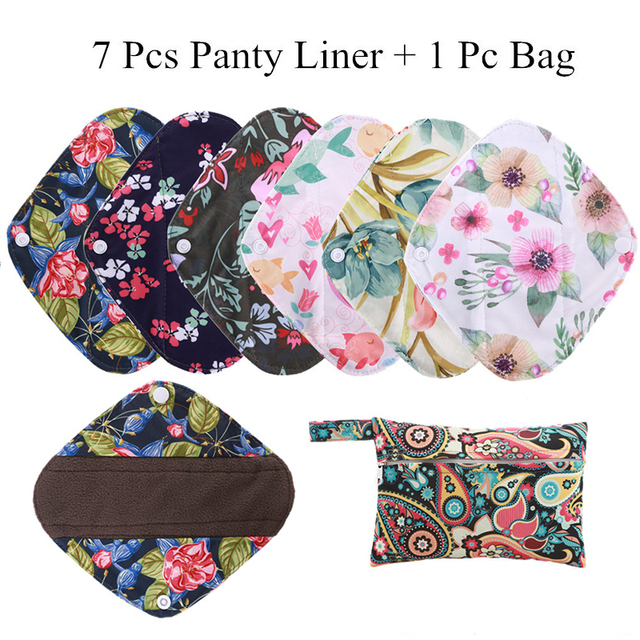 [simfamily] 7+1 panty liner sets Reusable Waterproof Bamboo Charcoal menstrual cloth sanitary,Stay Dry Super Absorption Healthy
