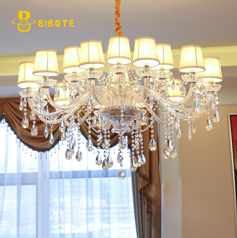 Lustre en cristal blanc moderne de LED allume la lampe pour le salonLustre en cristal blanc moderne de LED allume la lampe pour le salon