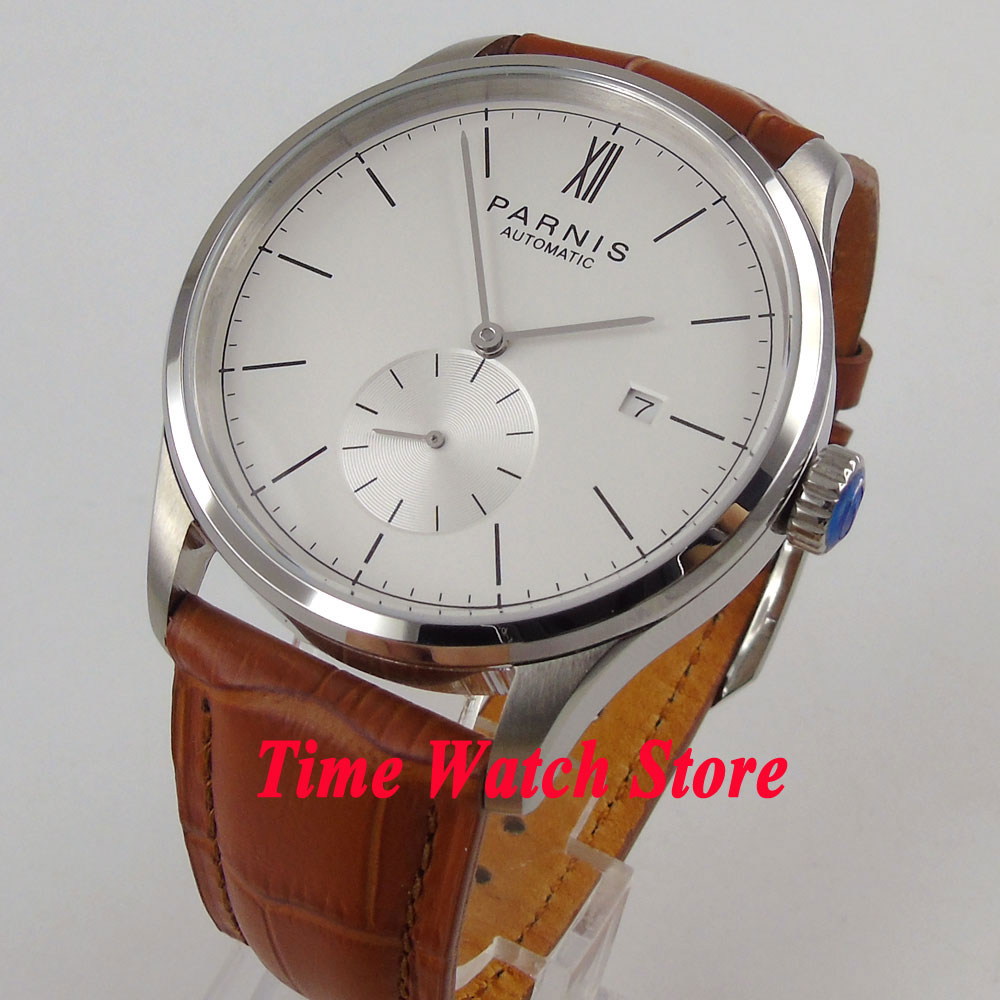 Simple style 42mm Parnis mens watch white dial silver hands DATE 5ATM ST1731 Automatic movement wrist watch 955Simple style 42mm Parnis mens watch white dial silver hands DATE 5ATM ST1731 Automatic movement wrist watch 955