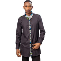 African clothing men's shirt stand collar black and patchwork print tops customize male long shirt for wedding ankara patterns
