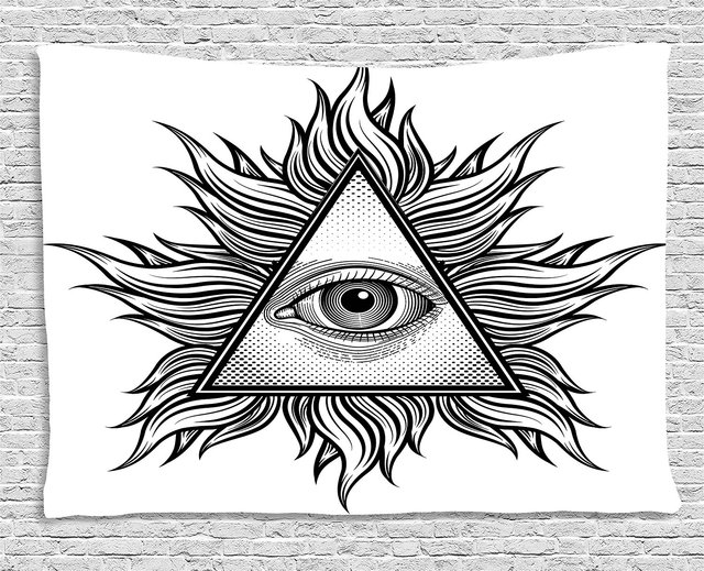 Eye Tapestry Triangle Shape With Wavy Figures And All Seeing Eye