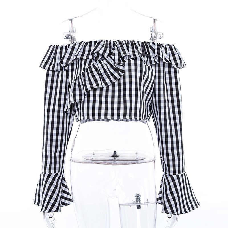 NCLAGEN 2018 Новая женская летняя сексуальная клетчатая футболка в клетку с оборками с длинным рукавом, с пупком, без косточек, топы, свободная повседневная футболка
