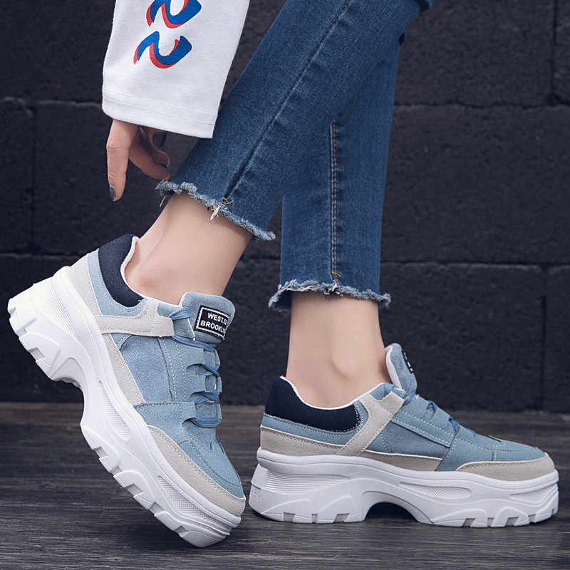 Women Sneakers Blue Gray Casual Spring Ladies Shoes Shallow Lace-up Chunky Platform Shoes Thick Bottom Shoes Femme ks8902w