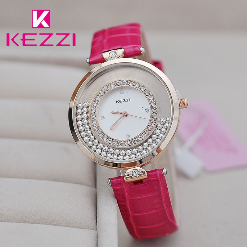 KEZZI Brand Ladies Dress Watch Casual Fashion Flowing Bead Inlaid Crystal Dial Waterproof PU Strap Quartz Watches For Women