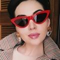 FEISHINI Hot Beautiful Elegant Gradient Vintage Cat Eye Sunglasses Women Brand Star Fashion oculos de sol feminino Red Sunglass