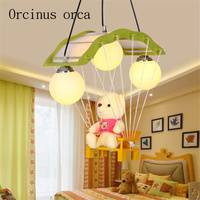 Cartoon LED bear doll chandelier parachut children's room lamp Girl Bedroom pendant lamp kindergarten decorative lamp
