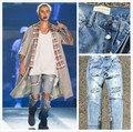 Kanye west джинсовые комбинезон дизайнер одежды rockstar джастин бибер лодыжки молния уничтожены тощий рваные джинсы для мужчин страх божий