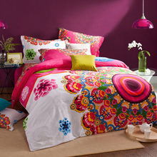 Brushed Cotton bohemian bedding sets 4pcs queen king duvet cover set bedlinen bedclothes beautiful bedding #2
