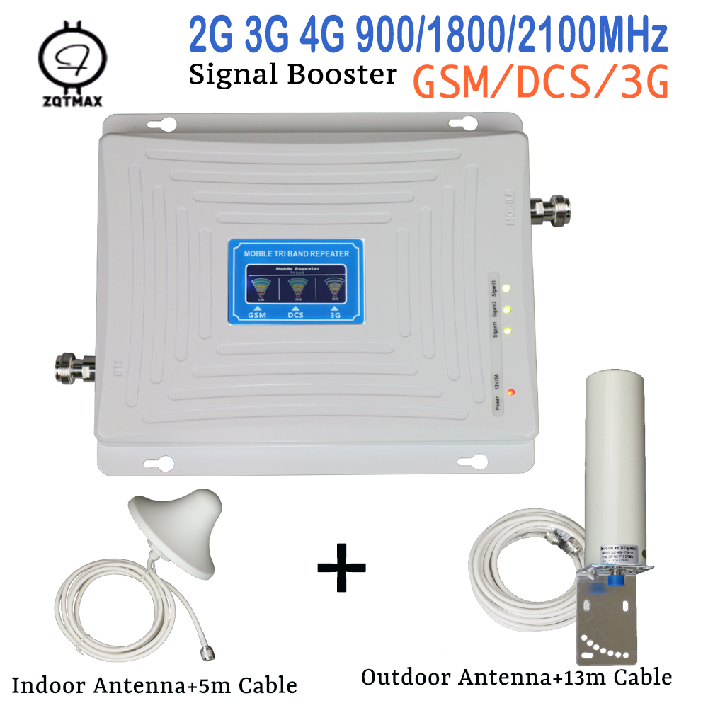 ZQTMAX 900 1800 2100 Cellular Signal Booster 2G 3G 4G Repeater GSM DCS UMTS Tri Band Mobile Phone Amplifier With Antenna Set
