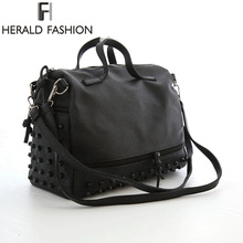 Herald Fashion Designer Women Leather Handbags Large Black Shoulder Bags Rivet Ladies Tote Bags Motorcycle Bag Bolsa Feminina