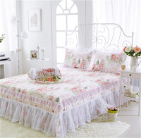100% cotton 3pcs bedding sets Korean Palace Princess style lace bed skirt pillowcase sets colorful white Floral Flowers Printed