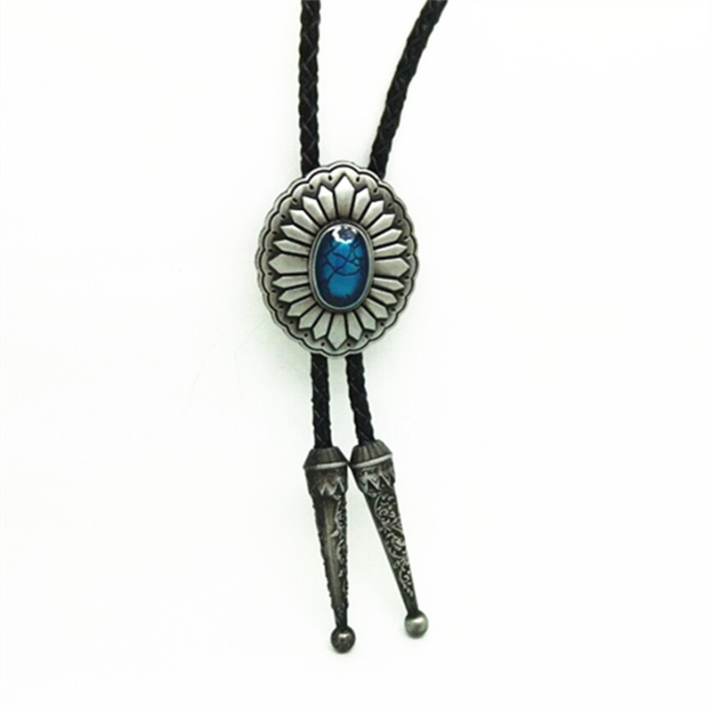 Vintage Western Bolo Tie Blue Stone Decorative Metal Buckle Cowboy Leather Necktie Men's Necklace Jewelry