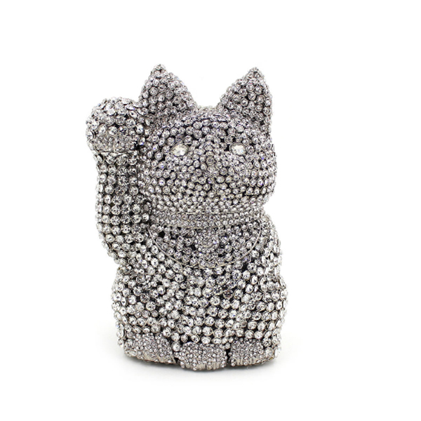 Crystal Lucky Cat Silver Evening Bag Clutch Bags Clutches Lady Wedding Purse Rhinestones Wedding Handbags Black Evening Bag crystal evening bag beaded day clutches lady wedding purse rhinestones wedding handbags silver black evening clutch bags