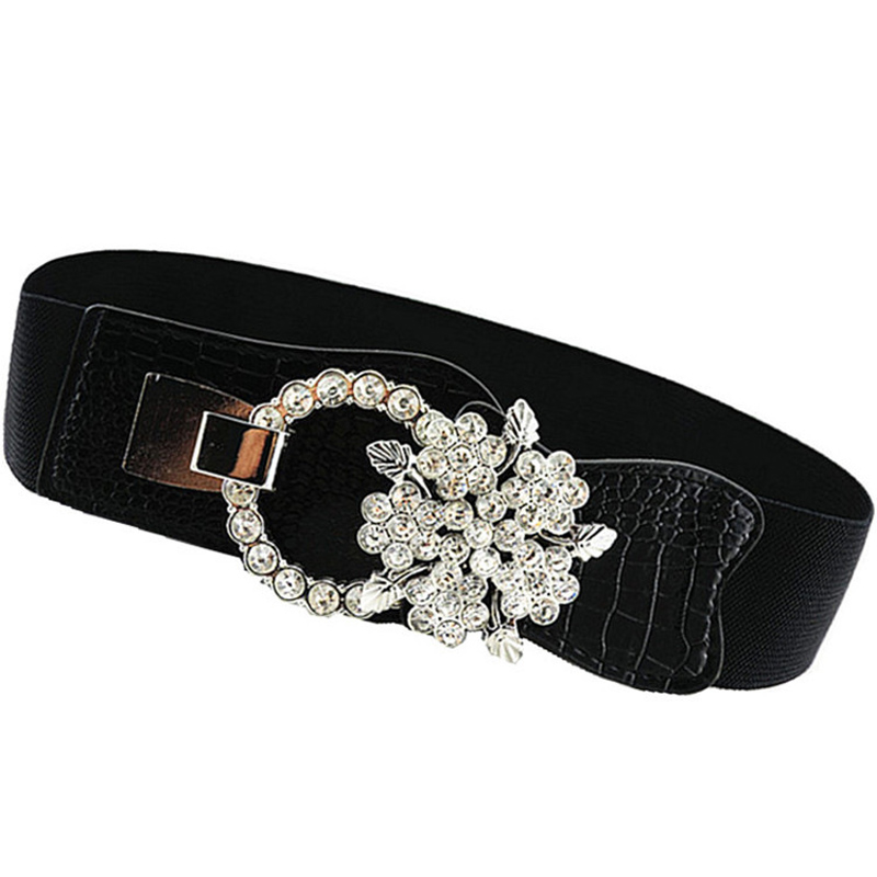 New Women Elastic Belt Rhinestone Fashion Girdle Corset Elastic Belt Woman High Elasticity Fabric PU Belts Twotwinstyle C68