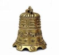 MOEHOMES + Sammeln Tibet Messing Geschnitzte 12 tiere Buddhismus Glocke Skulptur/Antique Drache Türklingel Von Tibet Tempel
