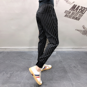 Image 2 - Mens Striped Trousers Pants Black White Summer Thin Ankle length Casual Pants Male Breathable Fashion Slim Fit Harem Pants Men