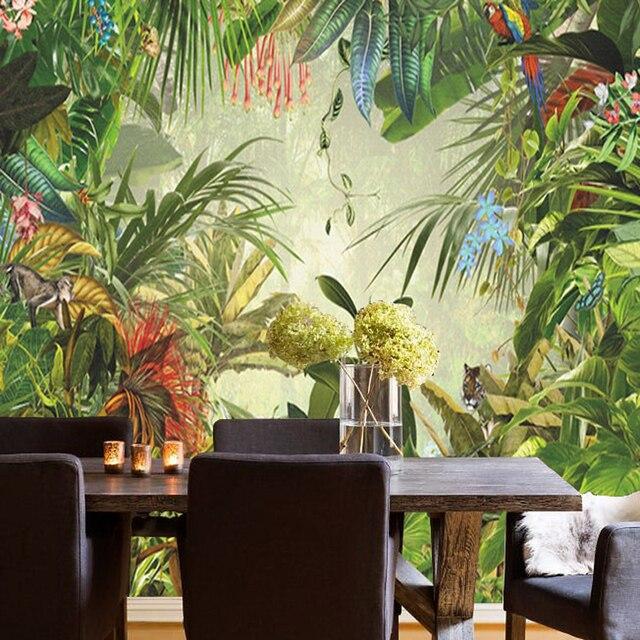 Southeast Asian Tropical Rainforest, Banana Leaf Restaurant Wallpaper Living  Room Bedroom Bar Photo Background Wallpaper Part 73