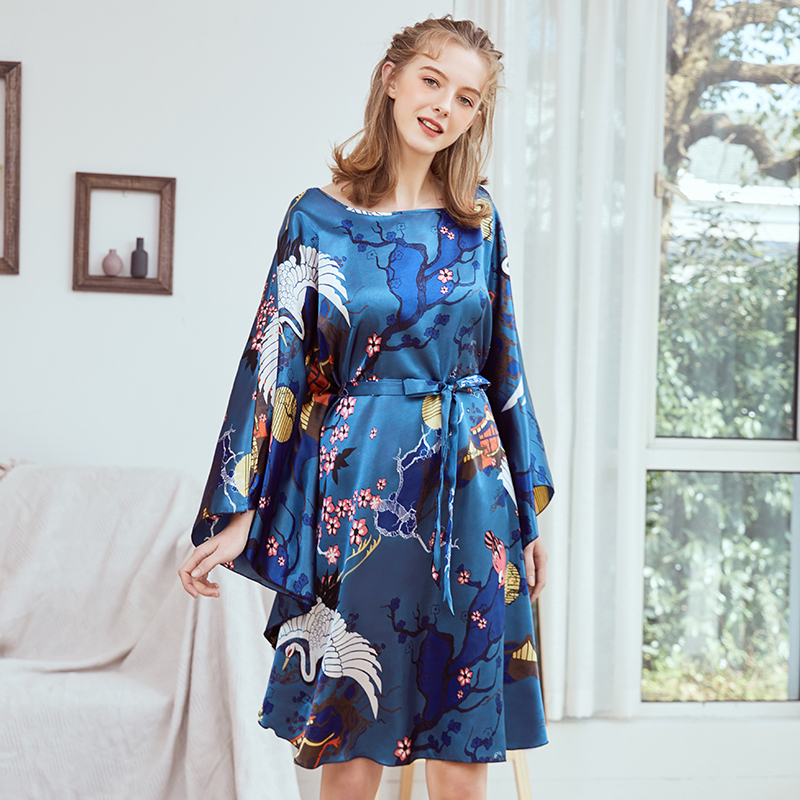 Summer Women Nightgown Print Sleepwear Night Bath Dress Gown Satin Sleep Shirt Sexy Nightshirt Home Clothes Intimate Lingerie