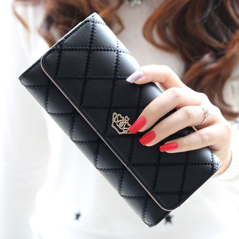 Long Wallets Money Purses Money-Rhombic Zipper Small Fashion Women with Coin-Bag New