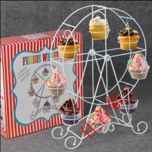 White ferris wheel cupcake rack 8 cups of metal