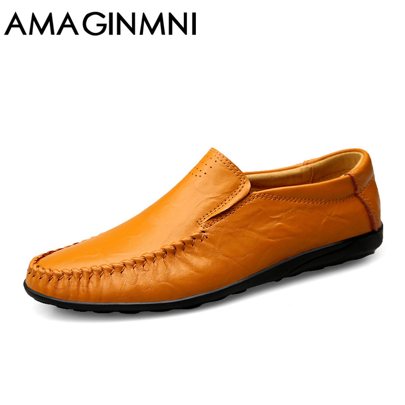 AMAGINMNI Brand Fashion Mens Casual Shoes High Quality Genuine Leather Shoes Men Loafers Breathable Flats Massage Driving Shoes 2017 new brand breathable men s casual car driving shoes men loafers high quality genuine leather shoes soft moccasins flats