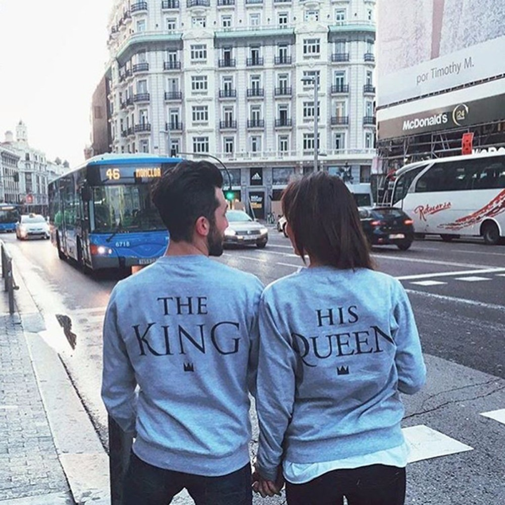 Fashion King &Queen Couple Print Letter Hoodies 2019 Spring Autumn Women Male Casual Hoodies Sweatshirts Solid Color Tops