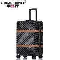 4サイズヴィンテージ旅行スーツケースローリング荷物革装飾kofferトロリーtsaロックスーツケース上車輪ローリング荷