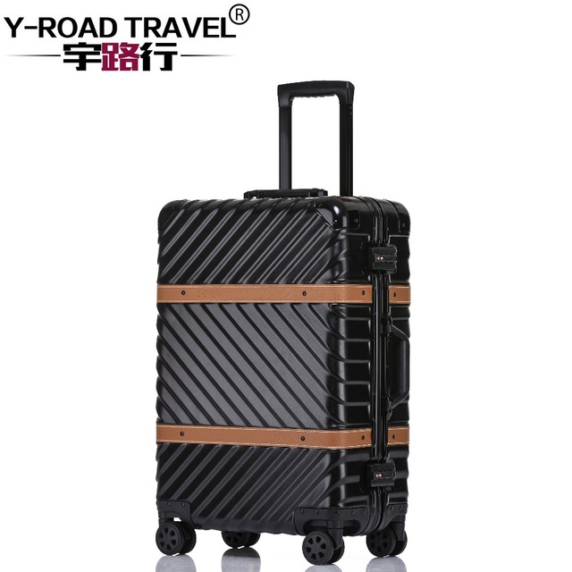4 размера винтажный Дорожный чемодан на колесиках кожаные украшения Koffer  тележка TSA замок чемоданы на колесиках f8dd9035e33