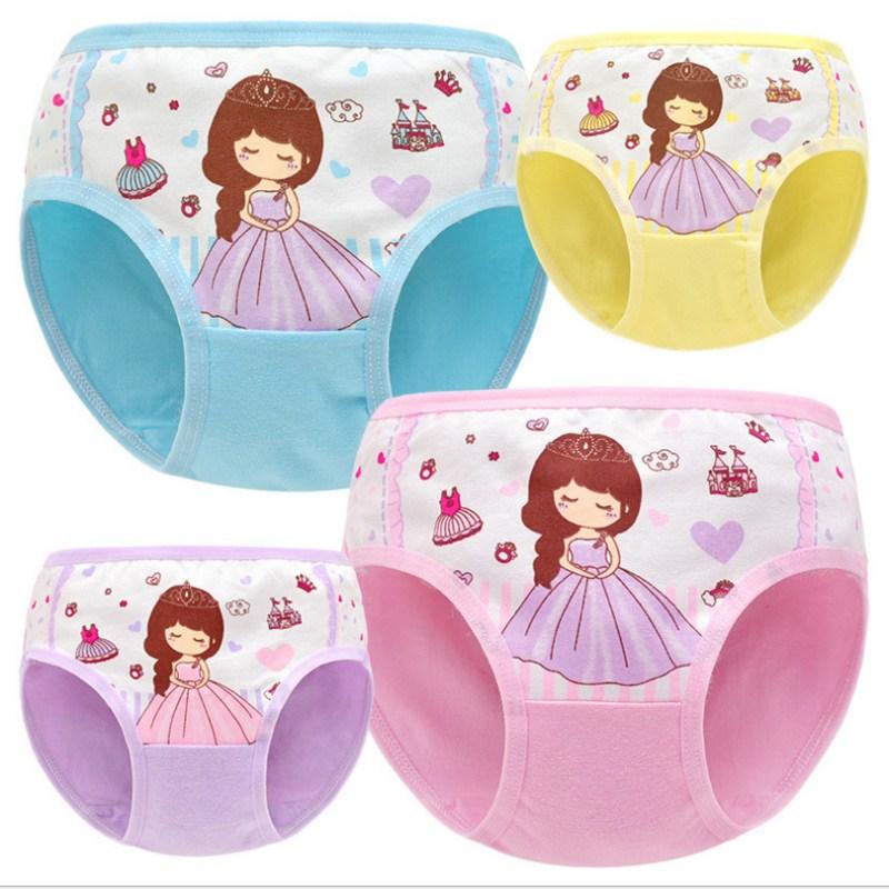 Buy 4Pcs/lot  Cotton Children Panties  Girls' Briefs Female Child Underwear Baby Girl Panty Children Clothing Suit 2-10years