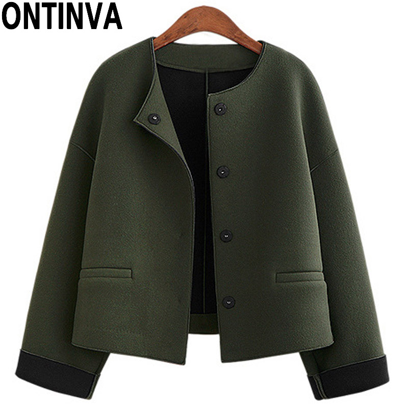 Armee Grün Woolen Kurze Jacke für Frauen Oberbekleidung Mäntel mit Taste Volle Hülse Jacke Strickjacke mit Taschen 2018 Frühjahr Neue