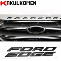 DIY Auto styling Metall Buchstaben Hood Emblem Solide Silber/Schwarz 3D Logo Abzeichen Aufkleber Für Ford FORD EDGE 2014-2017