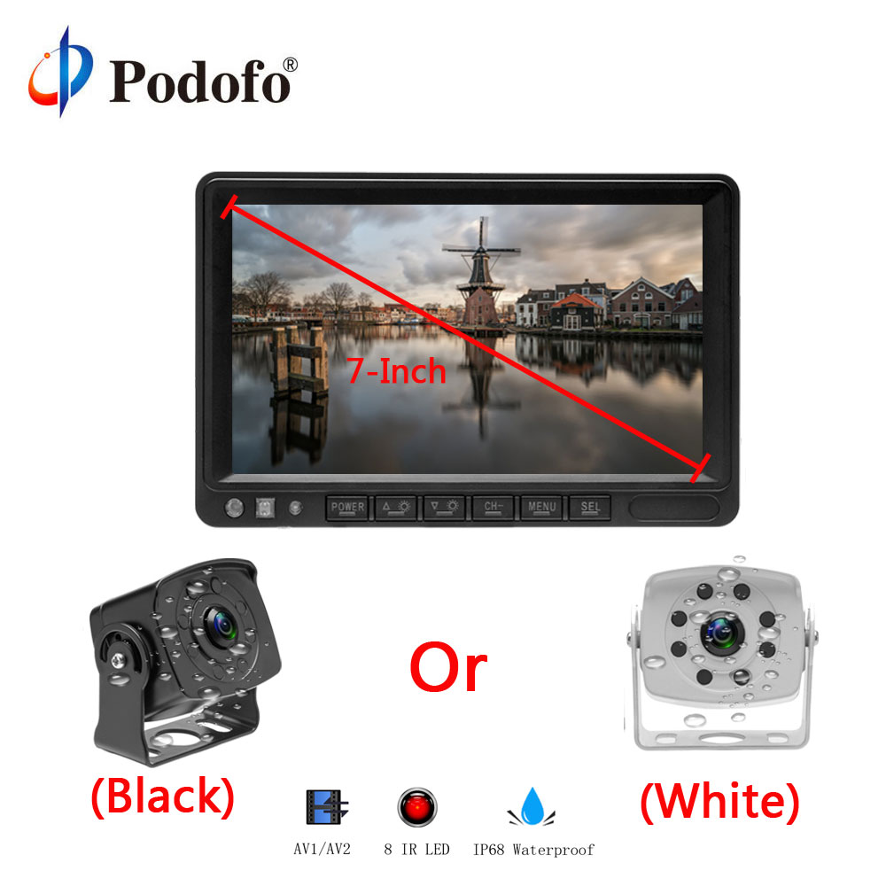 Podofo 7 TFT LCD Display Monitor 4-pin Connector Car reverse back up rear view camera for Trucks bus Caravan Van RV Trailer gision 12v 24v wireless car reverse reversing backup rear view camera for trucks bus excavator caravan rv trailer with monitor