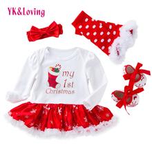 Christmas Baby ubrania Snowflake długi rękaw noworodka Romper sukienka Baby Girls ubrania 4szt zestaw 2018 nowy rok niemowlę Odzież tanie tanio Dziecko O-Neck Regularne Powyżej kolana mini Bawełna Satin Cotton Suknia balowa Pełne YK Loving Ładna Drukowania Pasuje do rozmiaru Weź swój normalny rozmiar