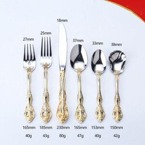 Image 5 - Talheres de aço inoxidável ocidental padrão retro talheres 6 peça conjunto colheres facas garfos conjunto cozinha casa wzn018