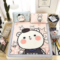 Double folding air conditioning mat Summer mat Printed ice silk cartoon three piece / two sets Home textile products cartoon bed