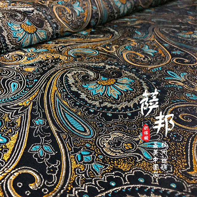 vintage satin fabric imitate silk Brocade Fabric Damask Jacquard Apparel  Costume Upholstery Furnishing patchwork tissu 75
