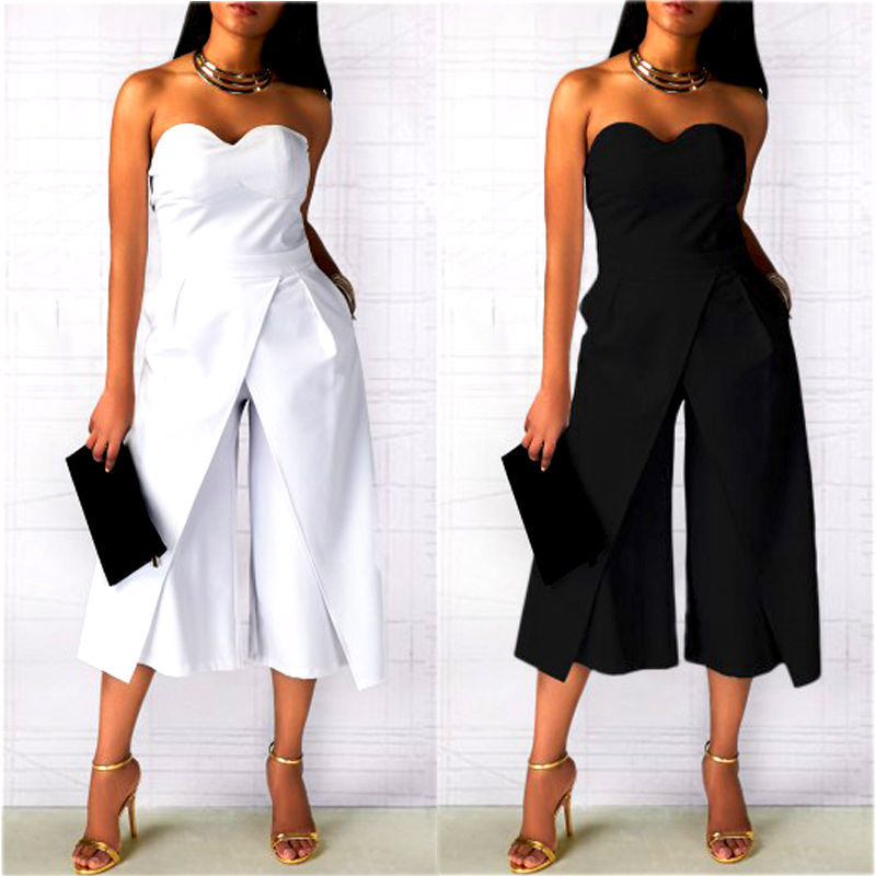 Women Office Ladies Clubwear Off Shoulder Bodycon Jumpsuit Wide Legs Pants Elegant Work Playsuit Party Basic Rompers