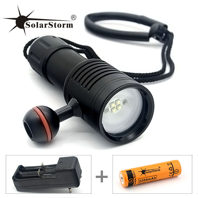 Diving flashlight Solarstorm light torch Photography Underwater Video LED Flashlight 4 White Cree LED Scuba Photography Lamp diving flashlight cree red light torch photography underwater video led flashlight 4x white 2x cree red led scuba photography