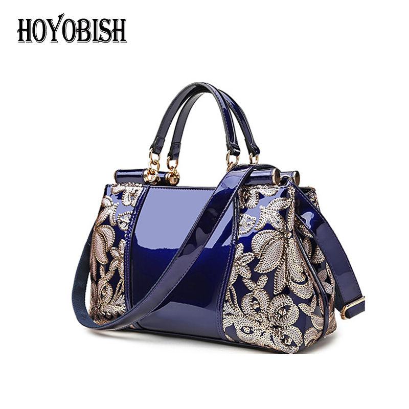 HOYOBISH Luxury Floral Sequined Handbags Women Bags Designer High Quality Tote Bag Genuine Leather Cross body Shoulder Bag OH140 high quality women messenger bags casual tote femme fashion luxury handbags women bag designer pocket shoulder