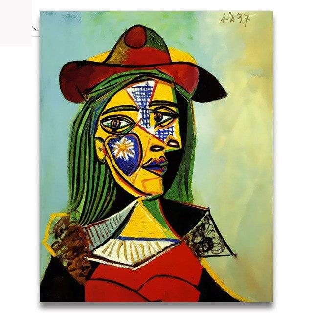 Sayılar Tarafından Diy Boyalar Ağlayan Kadın Picasso Soyut Figür