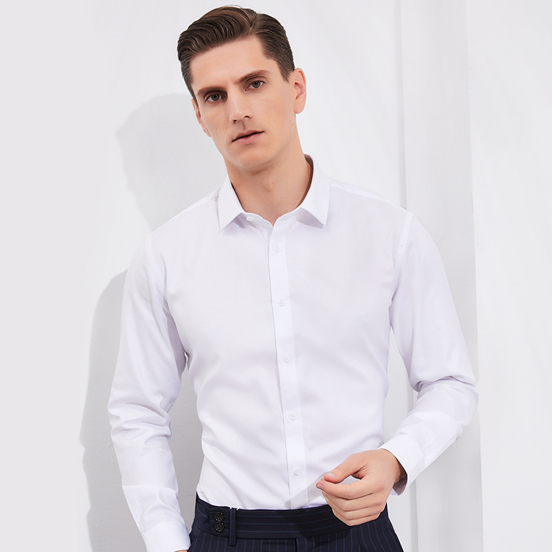 Men's Twill Non-Iron Long Sleeve Solid Basic Shirt Comfortable Cotton Standard Fit Formal Business Wrinkle Free Dress Shirts